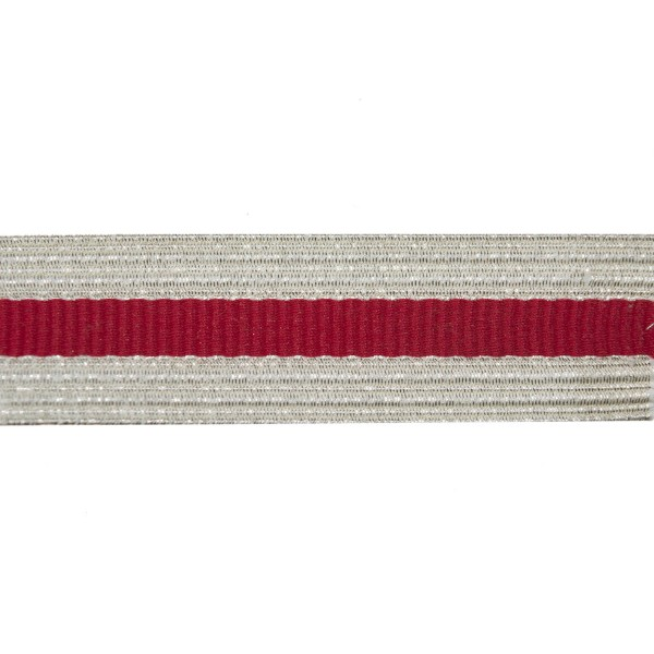 25mm Silver/ Scarlet Metallised Polyester Composite Lace