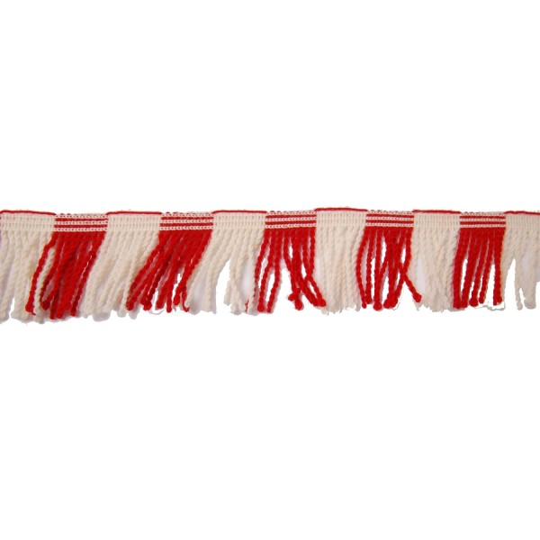 35mm - Twisted Drummers Fringe - Red and White - Worsted